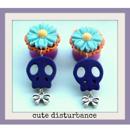 Custom Kitsch Style Skull Drop Plugs Size 18mm 20mm