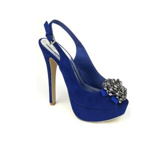 Slip On Blue Heels With Flower Beading On Bow-Heels