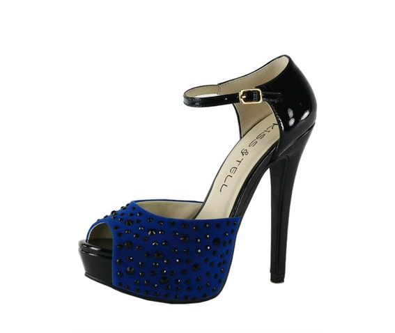 Black Heels With A Studded Blue Front And Ankle Strap-Heels