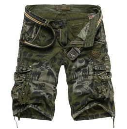 Blue and green large multi pockets mens cargo shorts pants shorts and capris 11