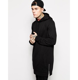 Stylish Long Black Warm Hoodie Side Zippers