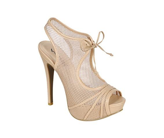 Nude Peep Toe Net Slingback Heel-Heels
