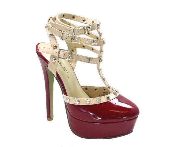 Red Heel With Beige Studded T Straps-Heels