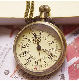 Vintage Compass Style Pocket Watch Round Necklace