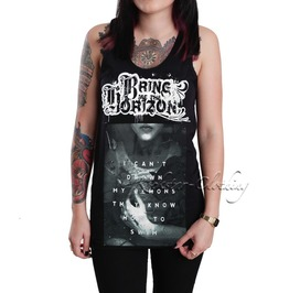 Bring Horizon Women's Ladies Girls Black Cotton Tank Top Vest Shirt