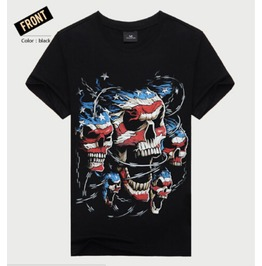 Mens American Flag Skulls Printed Short Sleeve Black Summer Casual T Shirt