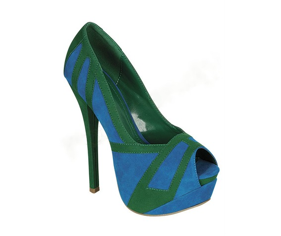 Blue And Green Peep Toe Heel-Heels