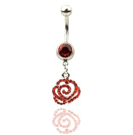 Scarlet Red Rose Crystal Belly Bar