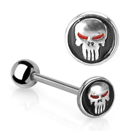 Punisher Surgical Steel Barbell Skull Black