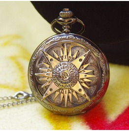 Victorian Black Magic Compass Pocket Watch Necklace