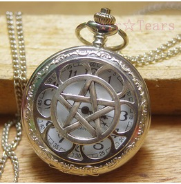 Victorian Antique Silver Pentacle Pocket Watch Necklace