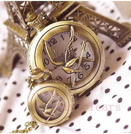 pocket watch gift victorian bronze Hunger Games Mockingjay Personalized Hollow Katniss