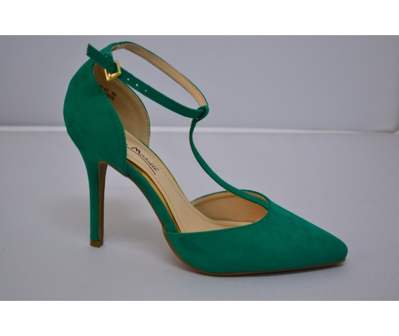 Green Heel With T Ankle Strap-Heels