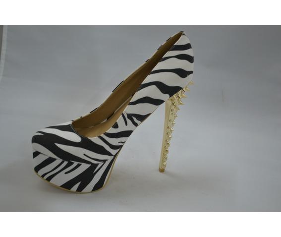 Animal Print Heel Laced With Spikes On The Heel-Heels
