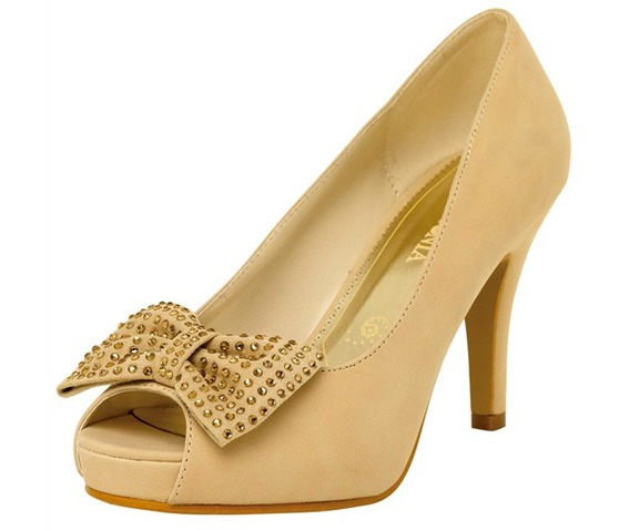 Beige Peep Toe With Studded Bow-Pumps