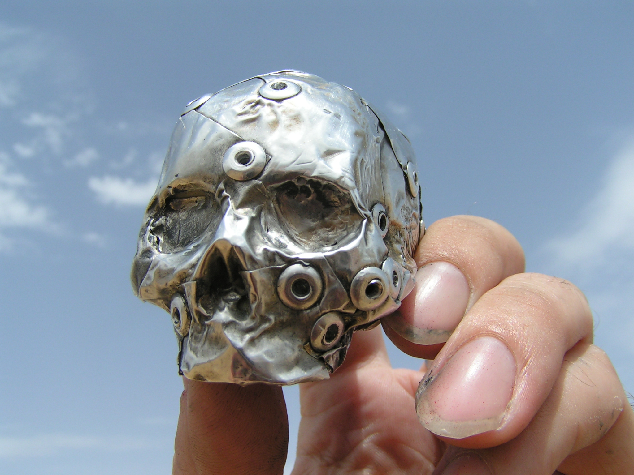 metal skull steampunk art