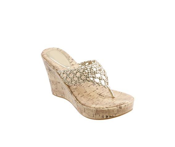 Beige Corkscrew Wedge Thong Sandal-Wedges