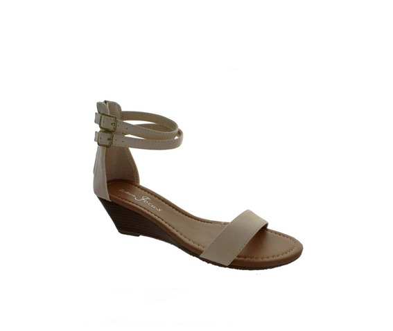 Ankle Strap Low Heel Wedge Sandal - Sandals