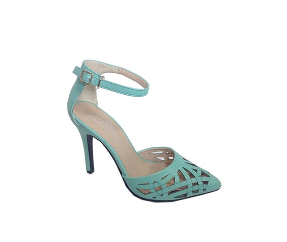 Mint Green Pointy Ankle Strap Heel Pump-Pumps