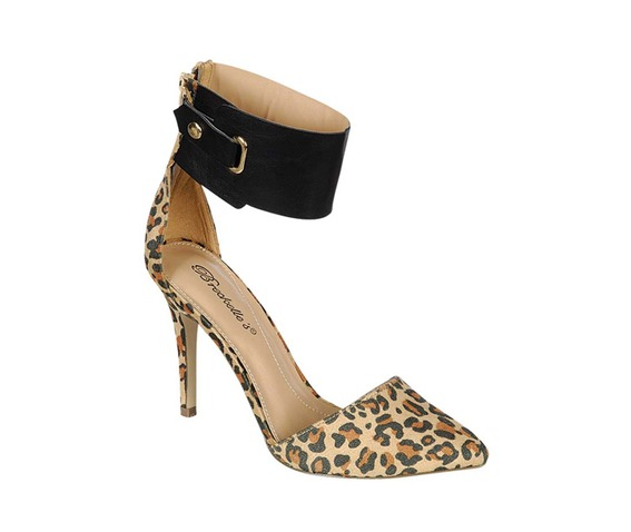 Leopard Suede Heel With Thick Ankle Strap-Heels