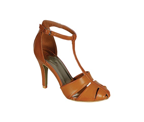 Brown Open Sided Pump With One Ankle Strap-Pumps