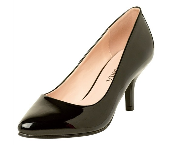 Pointed Toe Wet Black Closed Pump-Pumps