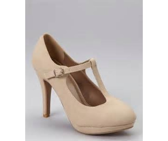Closed Beige Pump With A T Strap-Pumps
