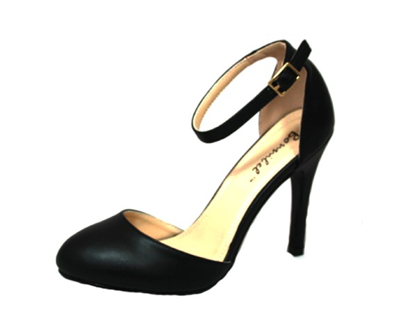 Black Closed Toe Heel, Side Cut And Ankle Strap - Heels