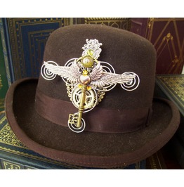 Steampunk winged hat adornment ha42_pins_3