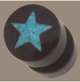 Horn Turquoise Star Split Ear Plugs Normal Ear Piercing