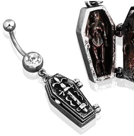Navel Bar Coffin Pendant