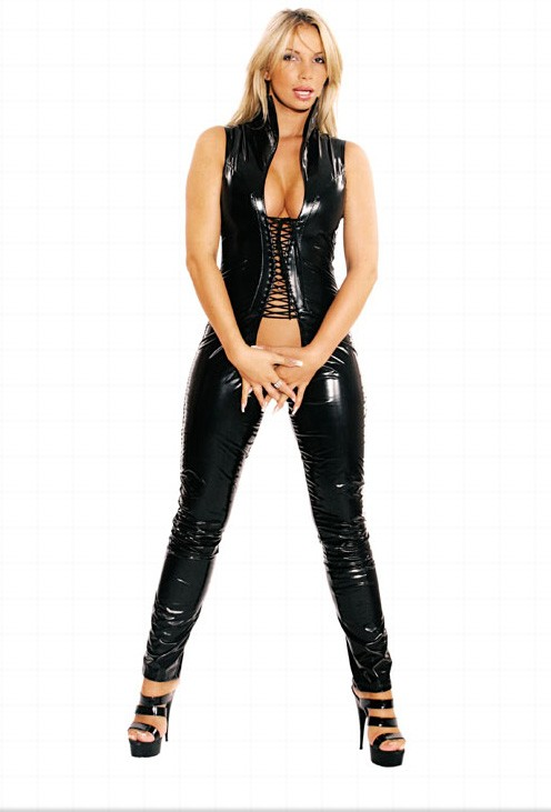 Sexy Gothic Punk Wet Look Lace Crotchless Catsuit One Left!!