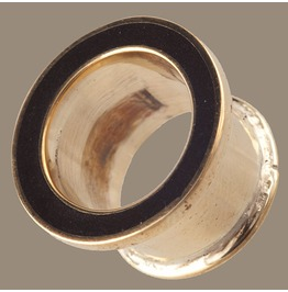 Brass Plug Tunnels Black Resin Inlay 6/10mm Gauge 0/2
