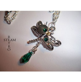 Emerald Odonata Steampunk Dragonfly Necklace