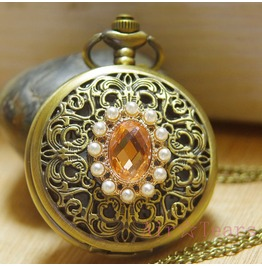 pocket watch Personalized Jewelry necklace antique victorian Retro pearl unique gift charm crystal Palace