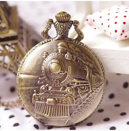 Hugo Cabret Retro Embossment Mystery Train Pocket Watch