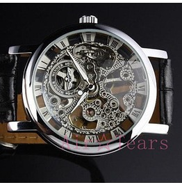 Retro Silver Hollow Automatic Mechanical Watch S002