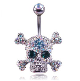 crystal skull Belly Ring