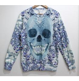 Light Blue Skull Geometric Pattern Hoodie