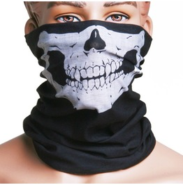 Skull Printed Black Face Mask Scarf