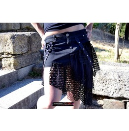 Black Gothic Assimetric Skirt ,Net Straps