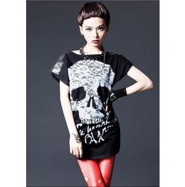 Womens Metallic Stud Shoulder Skull Print Tshirt