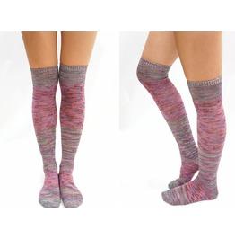 Pastel Block Knitted Thigh High Socks Mix
