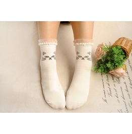Lace Trim Cat Socks White