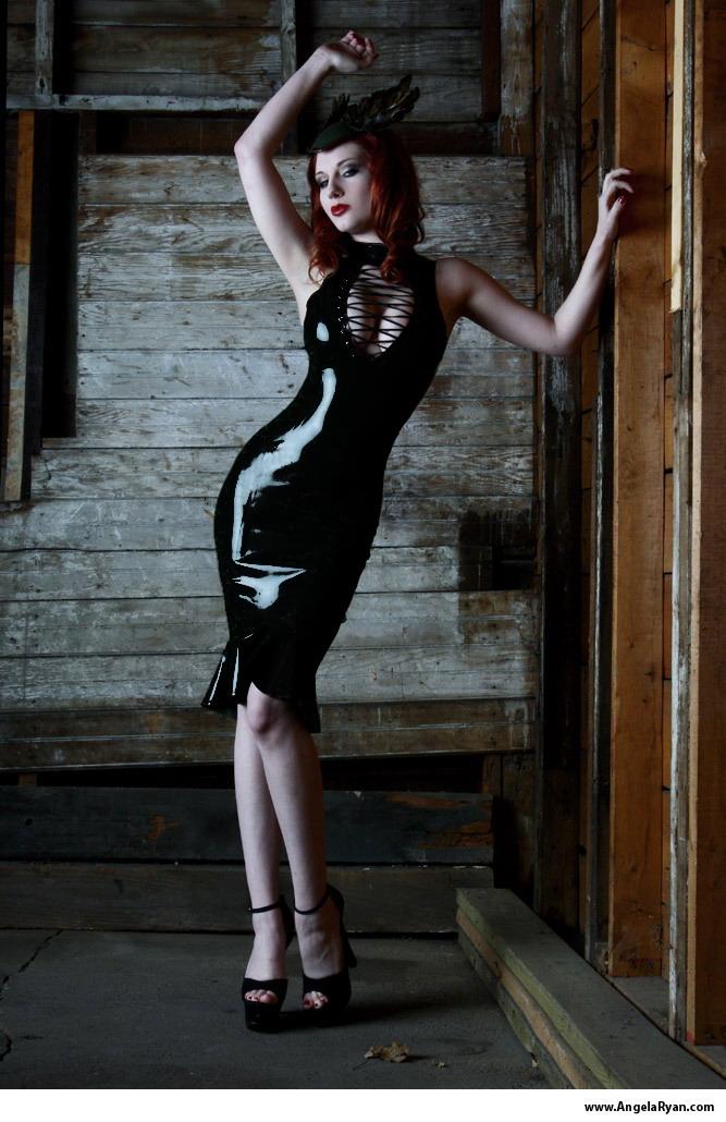 Black Stretch Polyurethane One Piece Dress W Ruffle One Size P763 21