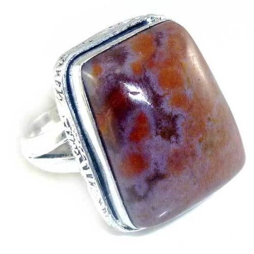 Ocean Sediment Jasper & 925 Silver Ring