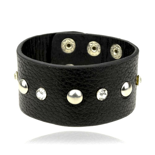Cool Black Leather Wristband Crystals & Studs