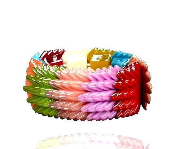 Cool Lucite Resin Stretch Metallic Colourful Bracelet