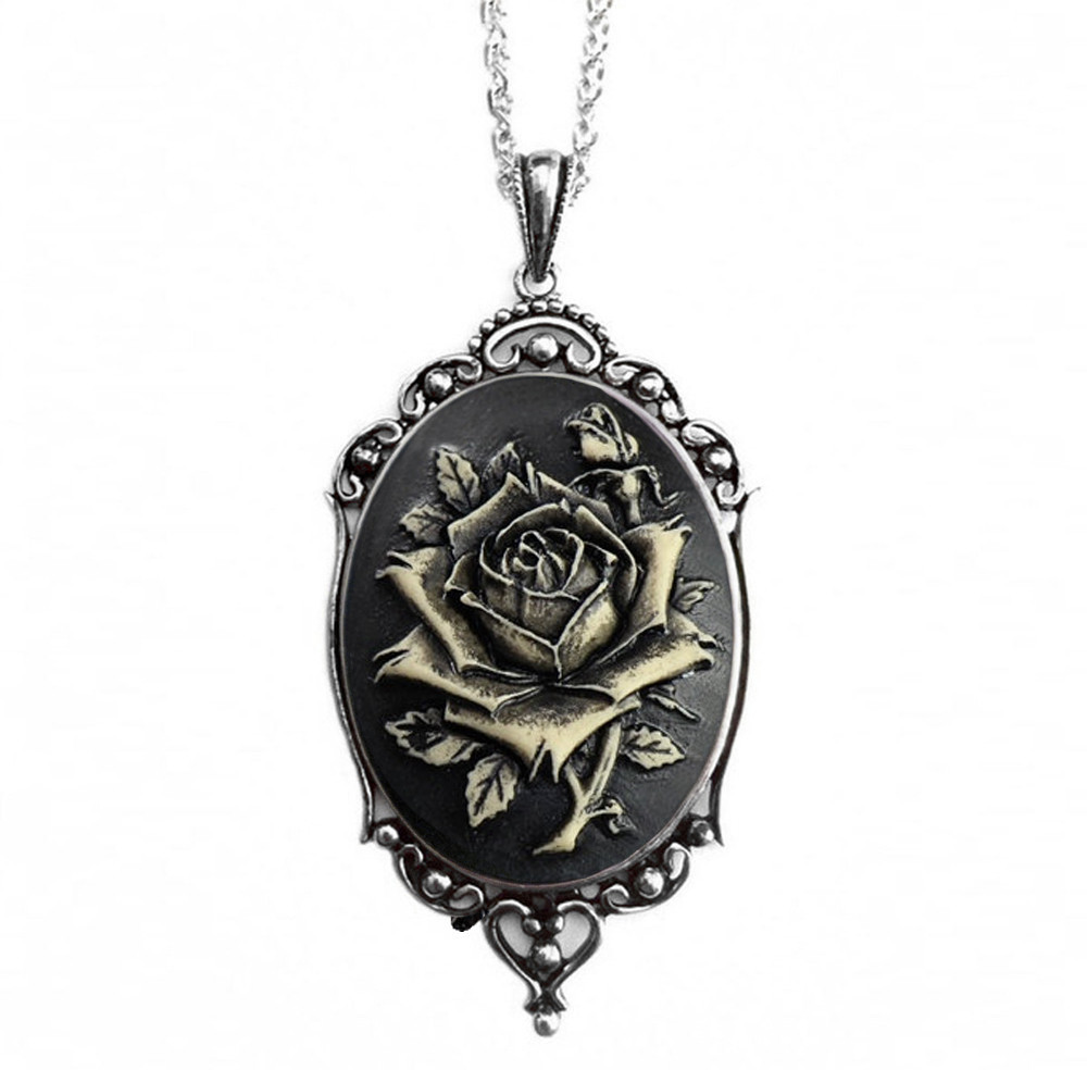 Black Rose Vintage Cameo Necklace
