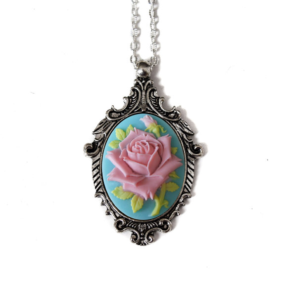 Shabby Chic Cameo Necklace Pink And Blue